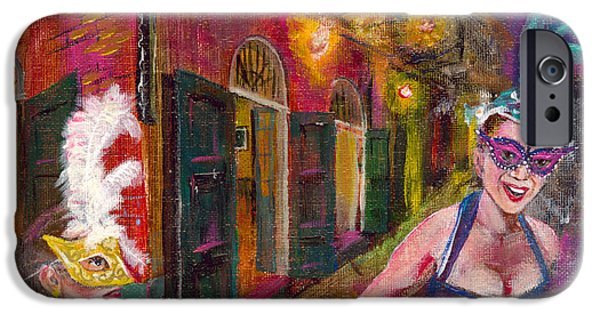 Mardi Gras Paintings iPhone Cases - Night Joy - New Orleans - Night Scene iPhone Case by Gretchen  Smith