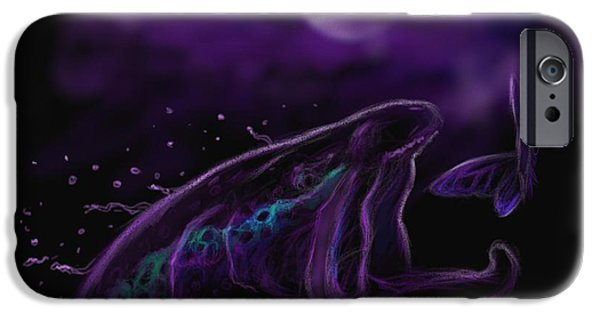 Dogs Digital iPhone Cases - Night life at the river  iPhone Case by Yusniel Santos