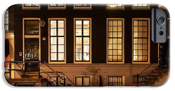 Nederland iPhone Cases - Night Lights in Amsterdam. Holland iPhone Case by Jenny Rainbow