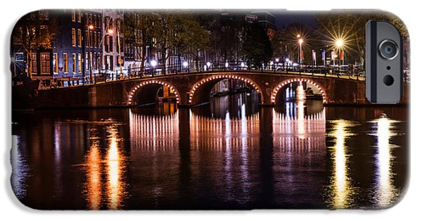 Nederland iPhone Cases - Night Lights on the Amsterdam Canals 4. Holland iPhone Case by Jenny Rainbow