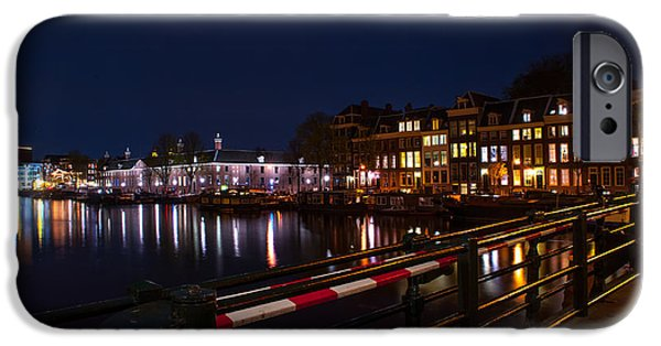 Nederland iPhone Cases - Night Lights on the Amsterdam Canals 5. Holland iPhone Case by Jenny Rainbow