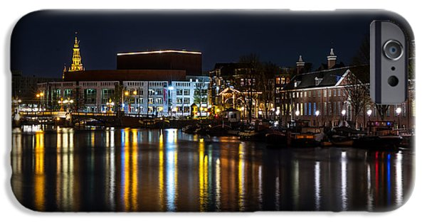 Nederland iPhone Cases - Night Lights on the Amsterdam Canals 6. Holland iPhone Case by Jenny Rainbow