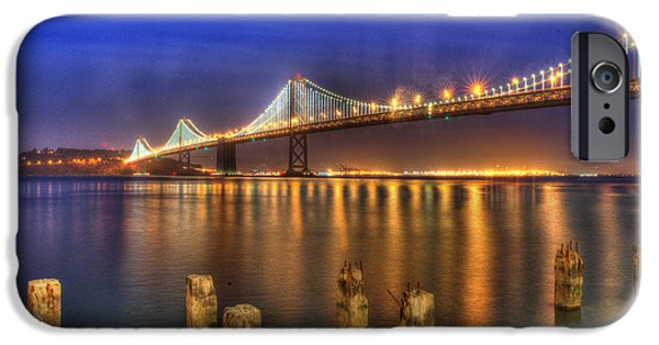 Bay Bridge iPhone Cases - Night Lights iPhone Case by Patricia Dennis