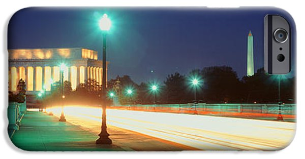 Lincoln iPhone Cases - Night, Lincoln Memorial, District Of iPhone Case by Panoramic Images