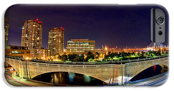 Boston Cityscape iPhone Cases - Night Moves 2-Boston iPhone Case by Joann Vitali