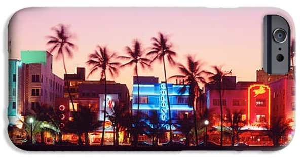 Fl iPhone Cases - Night, Ocean Drive, Miami Beach iPhone Case by Panoramic Images