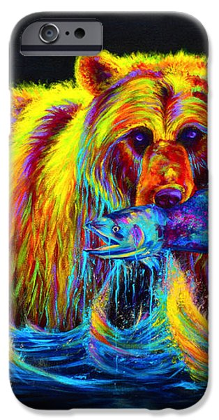 Night of the Grizzly iPhone Case by Teshia Art
