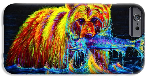 Colorful Paintings iPhone Cases - Night of the Grizzly iPhone Case by Teshia Art