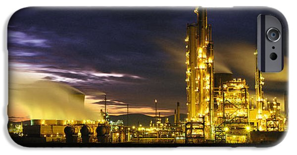 Manufacture iPhone Cases - Night Oil Refinery iPhone Case by Panoramic Images