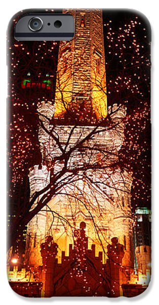 Old Chicago Water Tower iPhone Cases - Night, Old Water Tower, Chicago iPhone Case by Panoramic Images