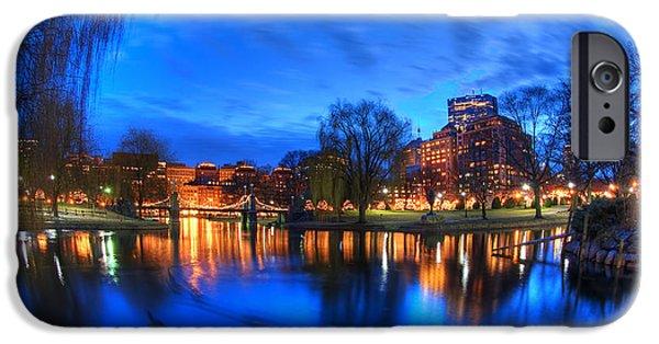 Boston Nightscape iPhone Cases - Night on the Lagoon - Boston Public Garden iPhone Case by Joann Vitali