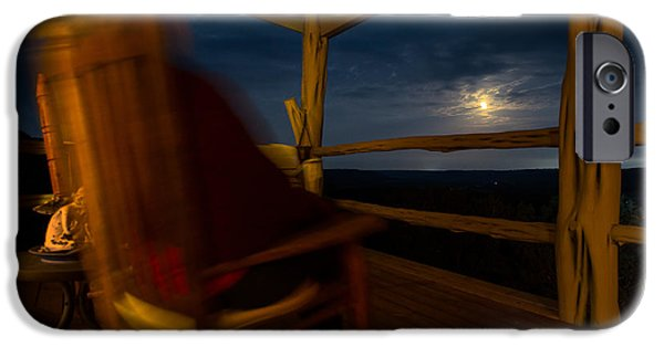 Rocking Chairs Photographs iPhone Cases - Night On The Porch iPhone Case by Darryl Dalton