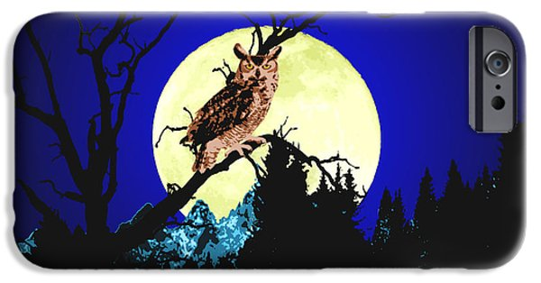 Snowy Night Mixed Media iPhone Cases - Night Owl iPhone Case by Aleirah Stevens