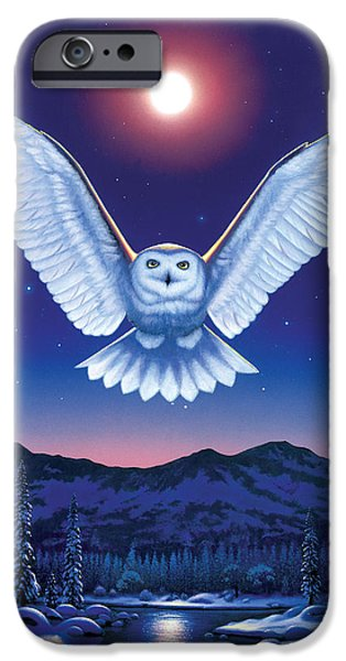Flying Animals iPhone Cases - Night Owl iPhone Case by Chris Heitt