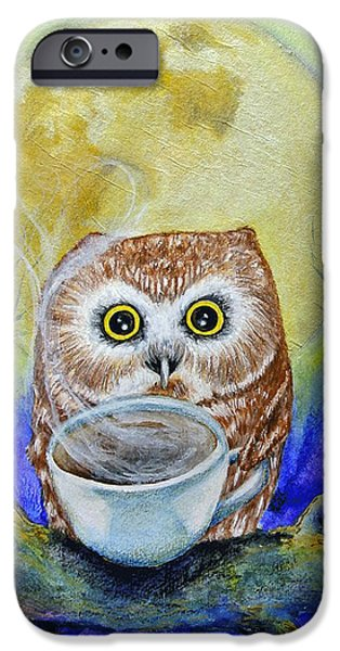Tea Party Mixed Media iPhone Cases - Night Owl iPhone Case by Heather  Gillmer
