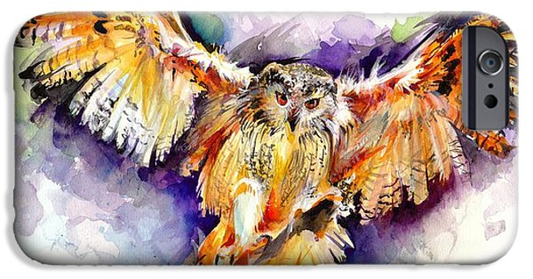 Sombre iPhone Cases - Night Owl Watercolor iPhone Case by Tiberiu Soos