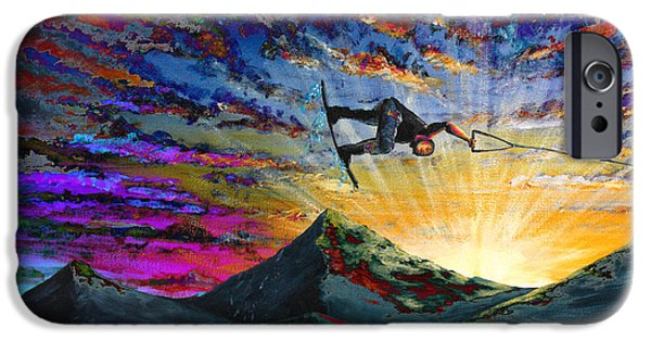 Summer Sports Paintings iPhone Cases - Night Ride iPhone Case by Teshia Art