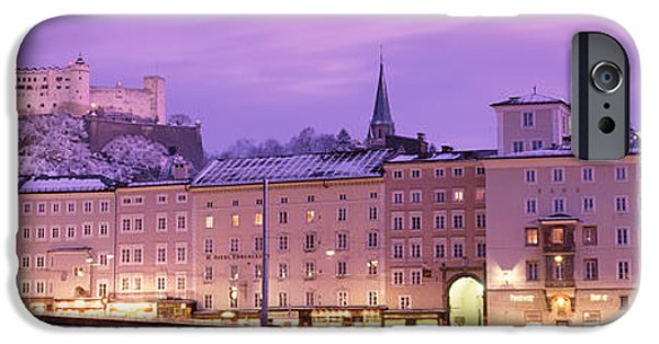 Salzburg iPhone Cases - Night Salzburg Austria iPhone Case by Panoramic Images