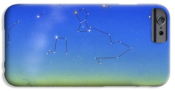 Constellations iPhone Cases - Night Sky, Artwork iPhone Case by David A. Hardy