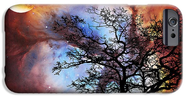 Modern Abstract iPhone Cases - Night Sky Landscape Art By Sharon Cummings iPhone Case by Sharon Cummings