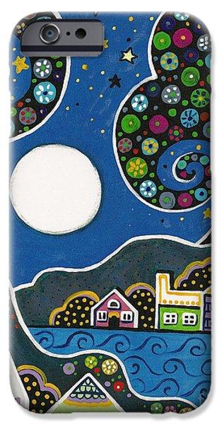 Sea Moon Full Moon Paintings iPhone Cases - Night Sky iPhone Case by Margaryta Yermolayeva