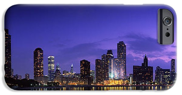 Pinkish iPhone Cases - Night Skyline Chicago Il Usa iPhone Case by Panoramic Images