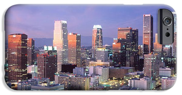 Finance iPhone Cases - Night, Skyline, Cityscape, Los Angeles iPhone Case by Panoramic Images