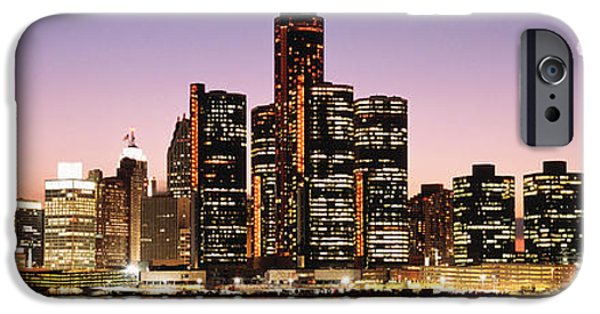 Renaissance Center iPhone Cases - Night Skyline Detroit Mi iPhone Case by Panoramic Images
