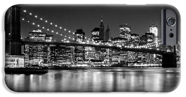 Bulb iPhone Cases - Night Skyline MANHATTAN Brooklyn Bridge bw iPhone Case by Melanie Viola