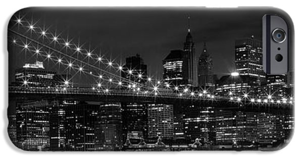 Brooklyn Bridge Digital Art iPhone Cases - Night-Skyline NEW YORK CITY bw iPhone Case by Melanie Viola