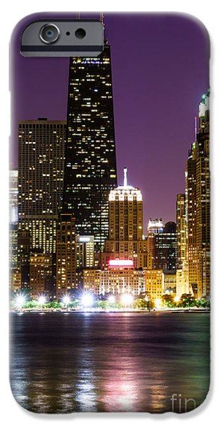 Chicago iPhone Cases - Night Skyline of Chicago iPhone Case by Paul Velgos