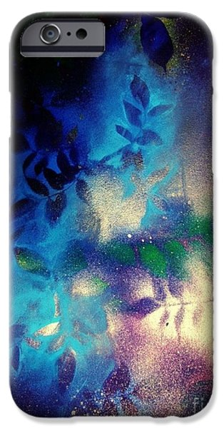 Blue Abstracts iPhone Cases - Night Still Bright iPhone Case by Sarah  Rachel