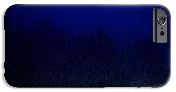 Snowy Night iPhone Cases - Night Storm iPhone Case by Mim White