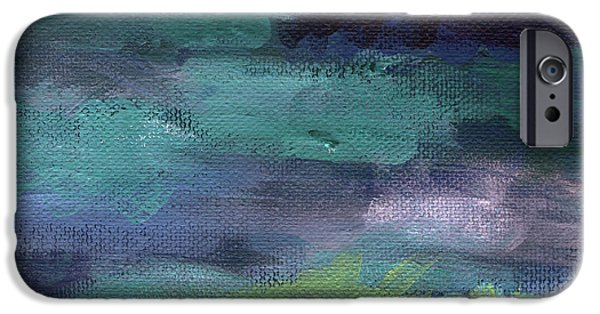Clouds Mixed Media iPhone Cases - Night Swim- abstract art iPhone Case by Linda Woods