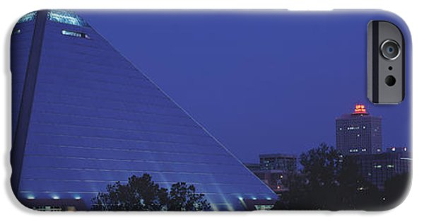 Tn iPhone Cases - Night The Pyramid And Skyline Memphis iPhone Case by Panoramic Images