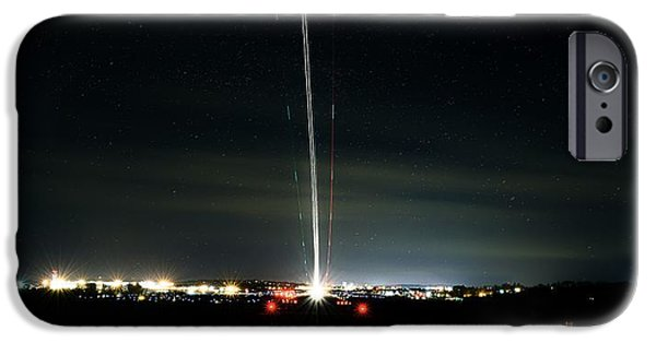 Jet Star iPhone Cases - Night Traffic iPhone Case by Cke Photo