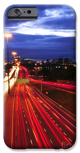Moving iPhone Cases - Night traffic iPhone Case by Elena Elisseeva
