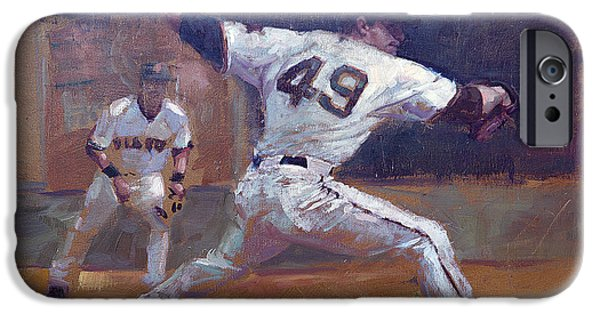 Baseball Art Paintings iPhone Cases - Night Train iPhone Case by Darren Kerr