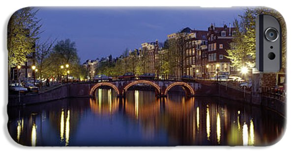 Night Lamp iPhone Cases - Night View Along Canal Amsterdam The iPhone Case by Panoramic Images