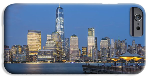Exchange Place iPhone Cases - Night View iPhone Case by Christian Heeb