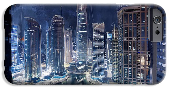 Authority iPhone Cases - Night View of JLT Dubai iPhone Case by Corporate Art Task Force