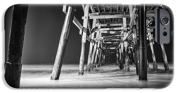 Clemente iPhone Cases - Night View Under San Clemente Pier iPhone Case by Ana V  Ramirez