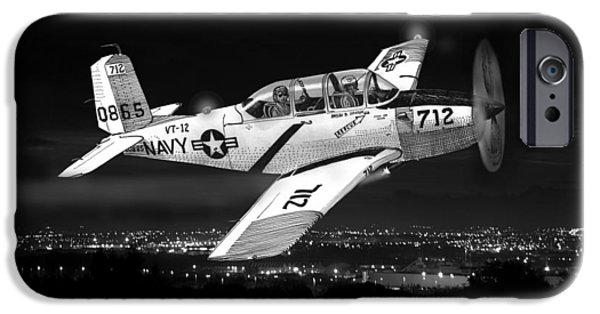 Upgrade iPhone Cases - Night Vision Beechcraft T-34 Mentor Military Training Airplane iPhone Case by Jack Pumphrey