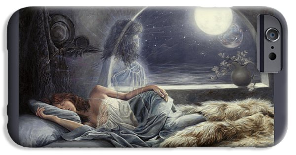 Night Angel Paintings iPhone Cases - Night Voyage iPhone Case by Lucie Bilodeau