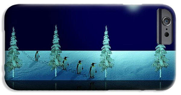 Business Digital Art iPhone Cases - Night Walk of the Penguins 2.5 iPhone Case by David Dehner