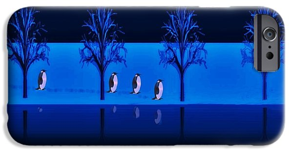 David iPhone Cases - Night Walk of the Penguins iPhone Case by David Dehner