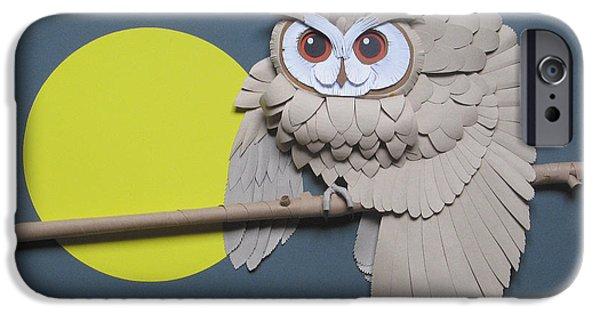Wings Reliefs iPhone Cases - Night Watchman iPhone Case by John Hebb