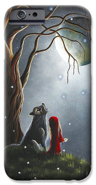 Little Girl iPhone Cases - Little Red Riding Hood Original Artwork iPhone Case by Shawna Erback