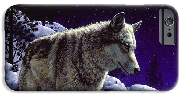 Dog In Snow iPhone Cases - Night Wolf iPhone Case iPhone Case by Crista Forest