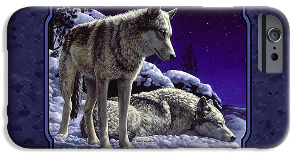 Dogs In Snow. Paintings iPhone Cases - Night Wolves Painting for Pillows iPhone Case by Crista Forest